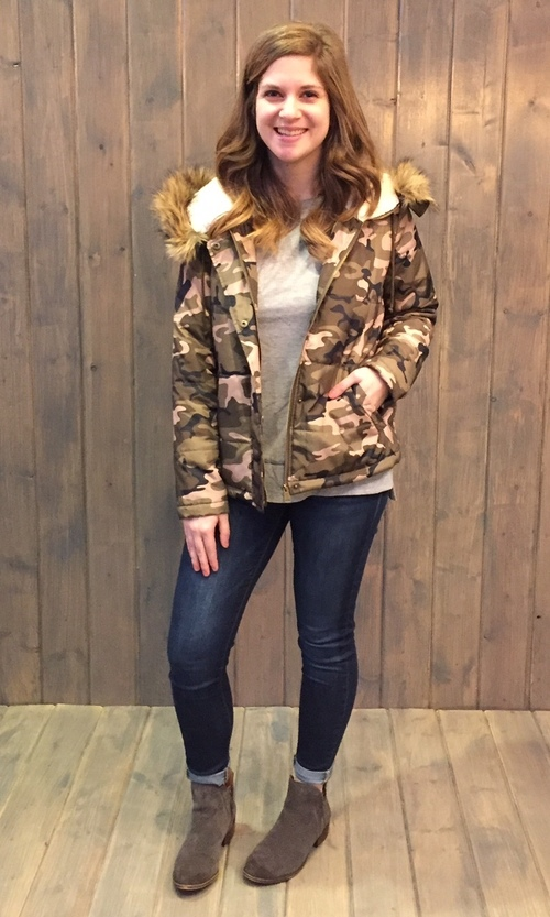 Camo Hooded Puffer Coat