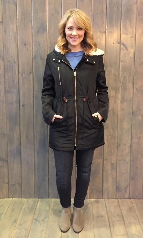 Sherpa Hooded Black Coat