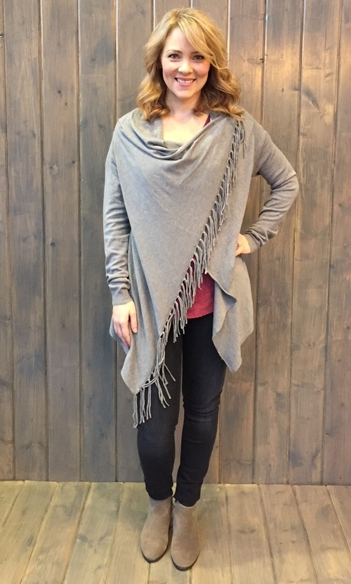 Asymmetrical Fringe Heather Ash Cardigan