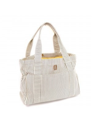 Grey Stripe Carry All Diaper Bag