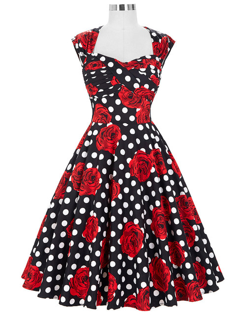 Donna Dress in Polka Rose