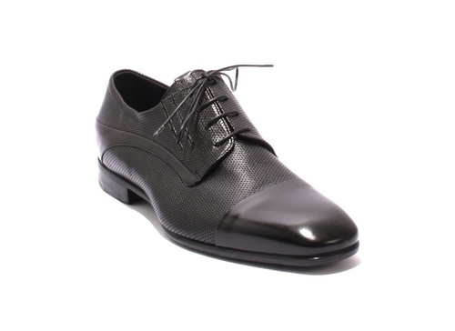 Black Leather Lace-Up Classic Shoes