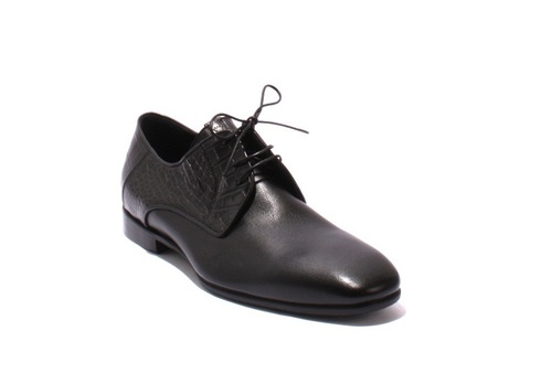 Black Leather / Stamped Lace-Up Classic Shoes