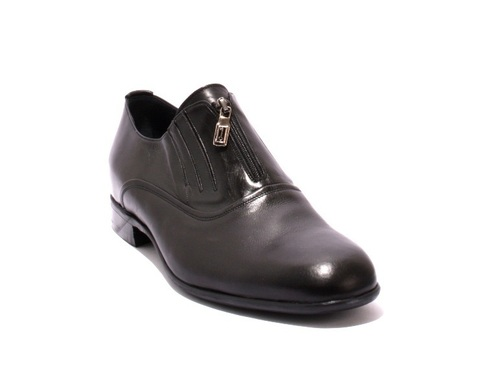 Black Leather Zip-Up Classic Shoes