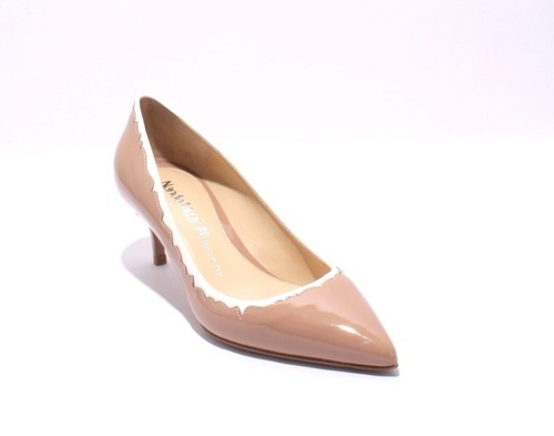 Beige / White Patent Leather / Leather Pointy Pumps