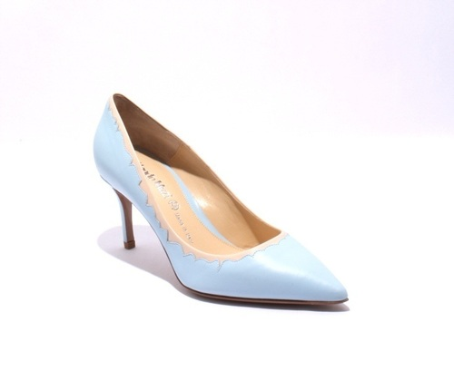Sky Blue / Beige / Leather Pointy Pumps Heels