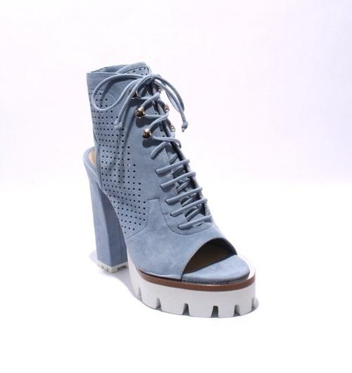 Sky Blue Suede Lace-Up White Platform Heels Sandals