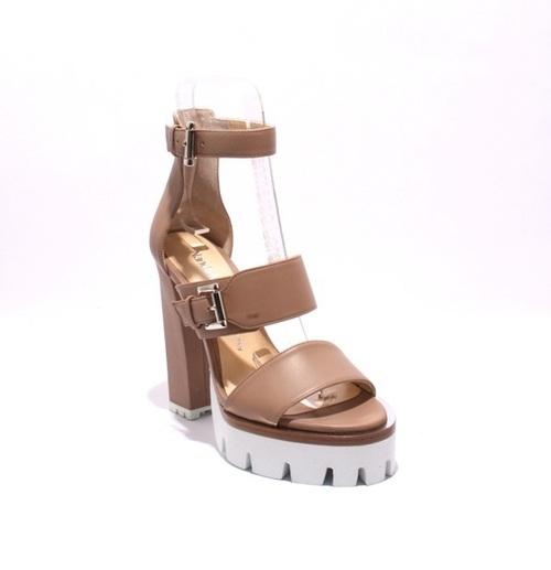 Beige Leather Strappy / White Platform Heel Sandals