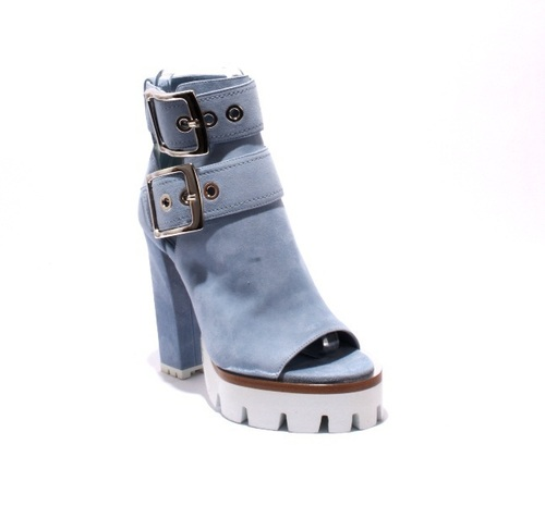 Sky Blue Suede Buckles White Platform Heel Sandals