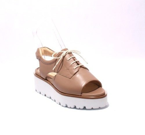 Beige Leather Lace-Up White Sole Platform Sandals