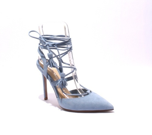 Sky Blue Suede Strappy Pointy Stiletto Heel Sandal