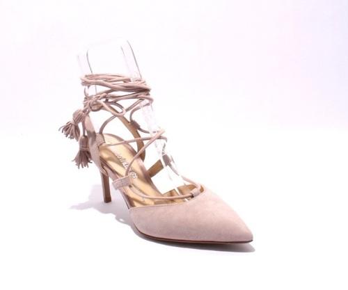 Beige Suede Strappy Pointy Stiletto Heels Sandals
