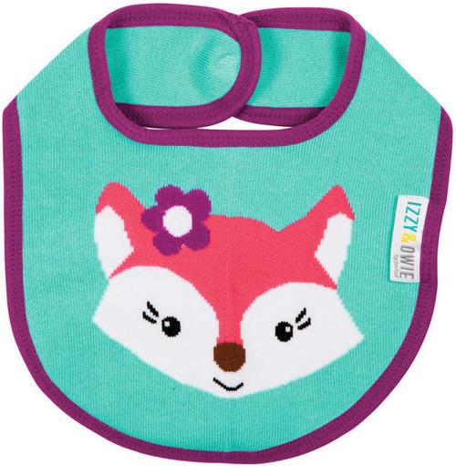Aqua Pink Fox Baby Bib