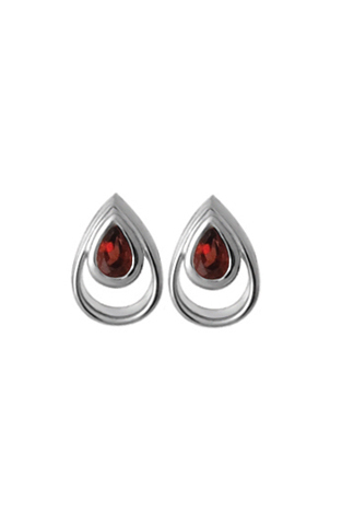 Garnet Teardrop Post Earrings