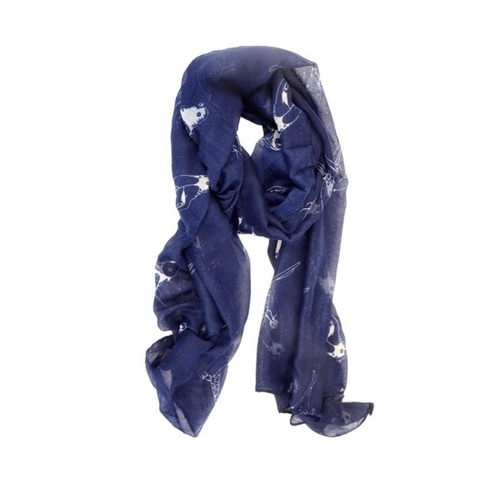 Navy Sitting Sparrow Scarf