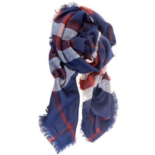 Oversized Wrap Scarf Navy Red