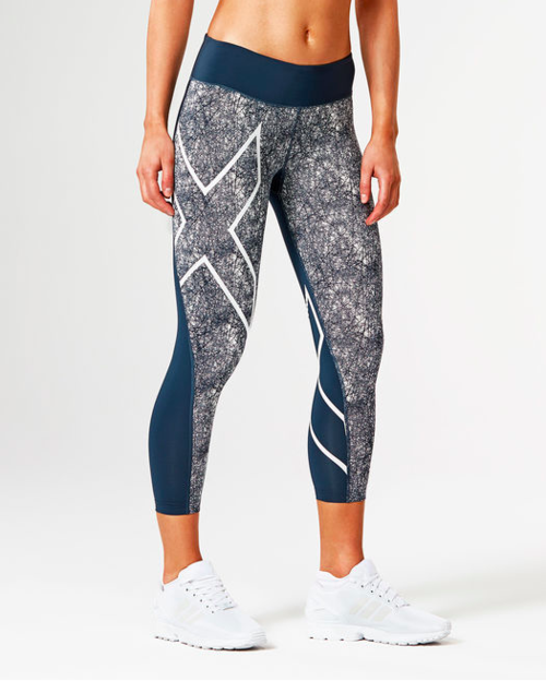 Women's 2XU Pattern Mid-Rise Compression 7/8 Tights