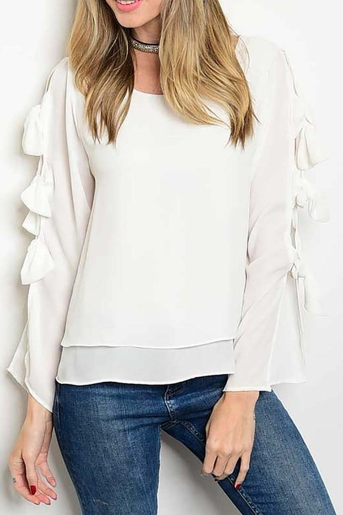 Hayley top with bows (White)
