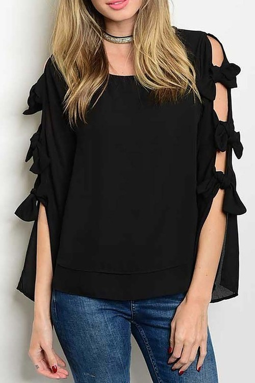 Hayley top with bows (Black)