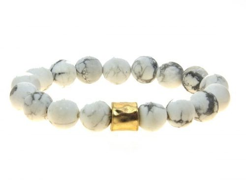 White Semi Precious Beaded Stretch Bracelet