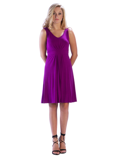 Pleated V Neck Berry Dress