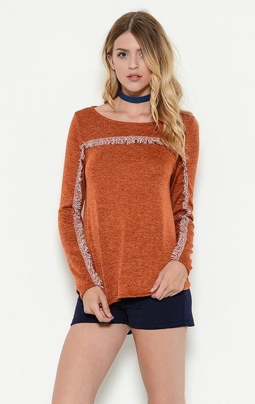 Tabitha fringe top (Rust)
