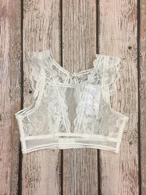 Keyhole Back Lace Bralette White
