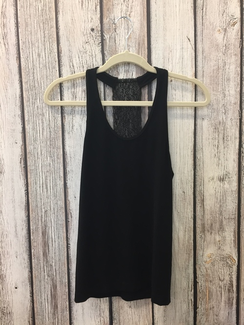 Scoop Neck Lace Tank Black