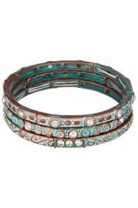 Patina Scroll Design Crystal Bracelet