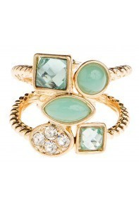 Gold Multi Crystal Hinged Ring