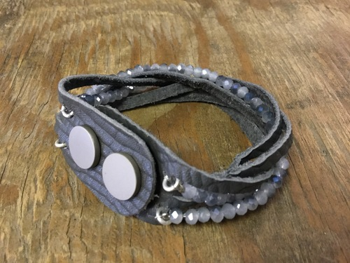 Grey Leather Braided Bead Bracelet