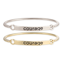 Courage Stamped Word Bangle Silver