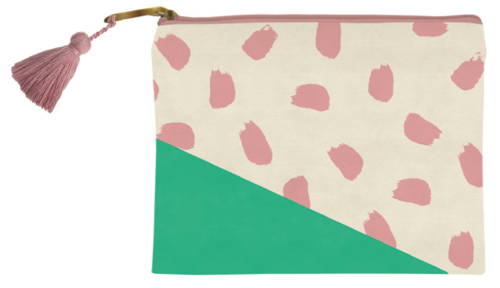 Green w/ Pink Confetti Cosmetic Bag