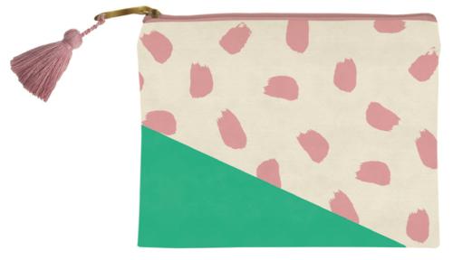 Green w/ Pink Confetti Cosmetic Bag