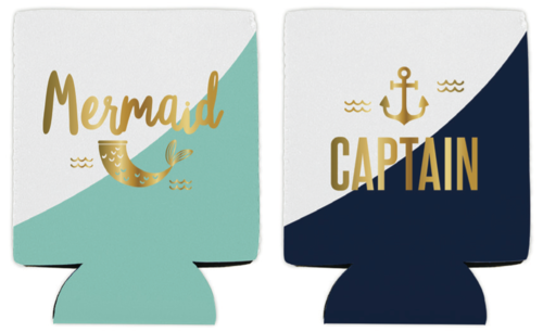 Mermaid & Captain Koozie Set
