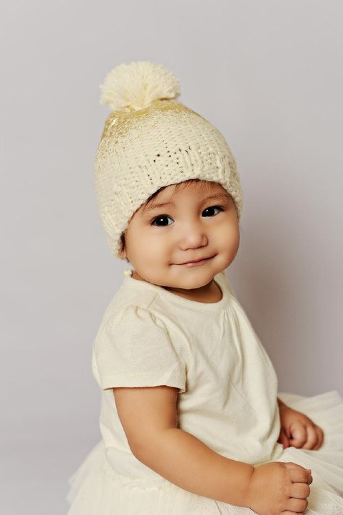 Pearl Cream/Gold Pom Knit Hat
