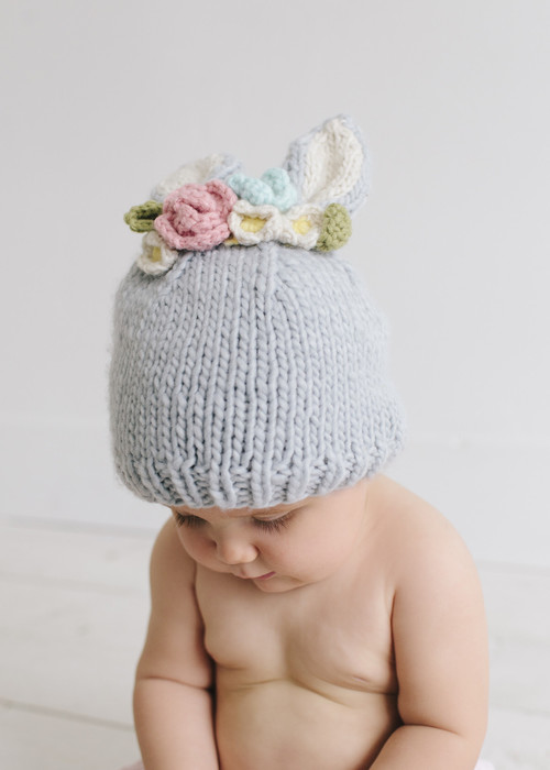 Bunny Knit Hat with Flowers