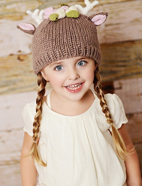 Deer with Flowers Knit Hat