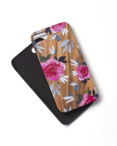 Woodie Case Pink Flower iphone 7