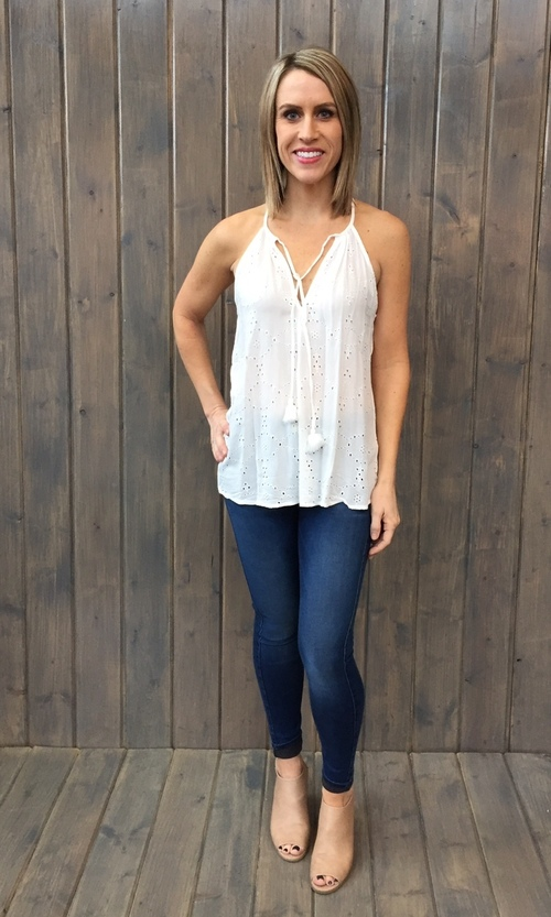 Embroidered Eyelet Tassle Tank