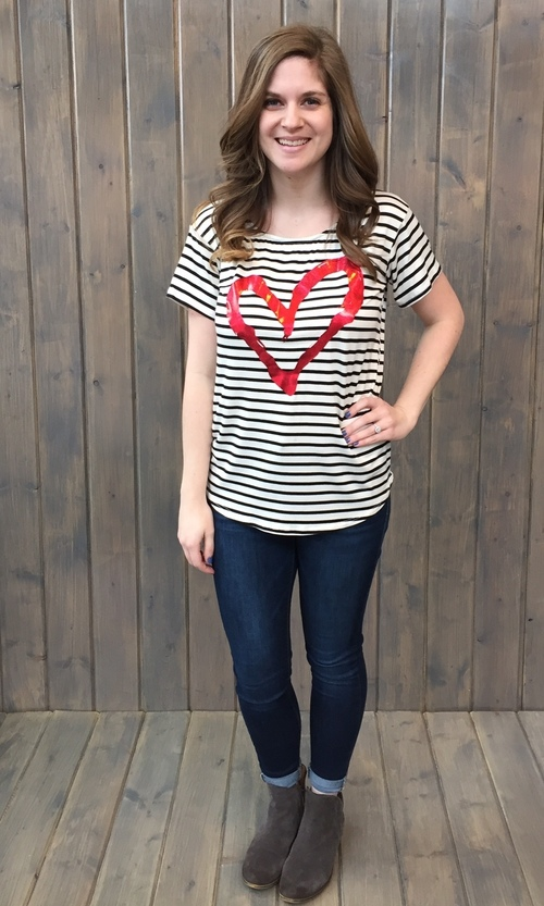 Red Heart Striped Tee