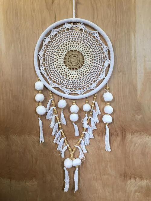 White & Brown Single Crochet Dreamcatcher