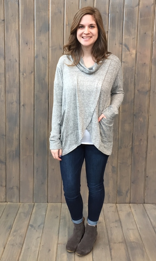 Brushed Jersey Cowl Neck Pullover