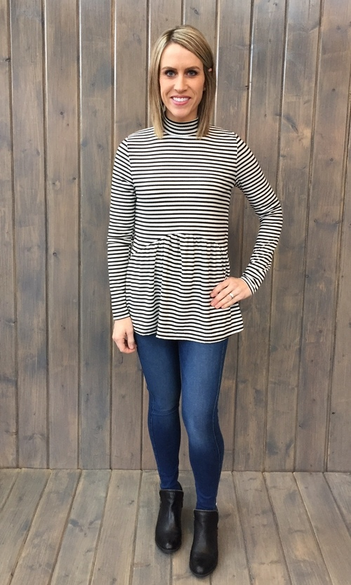 Striped Empire Seamed Top