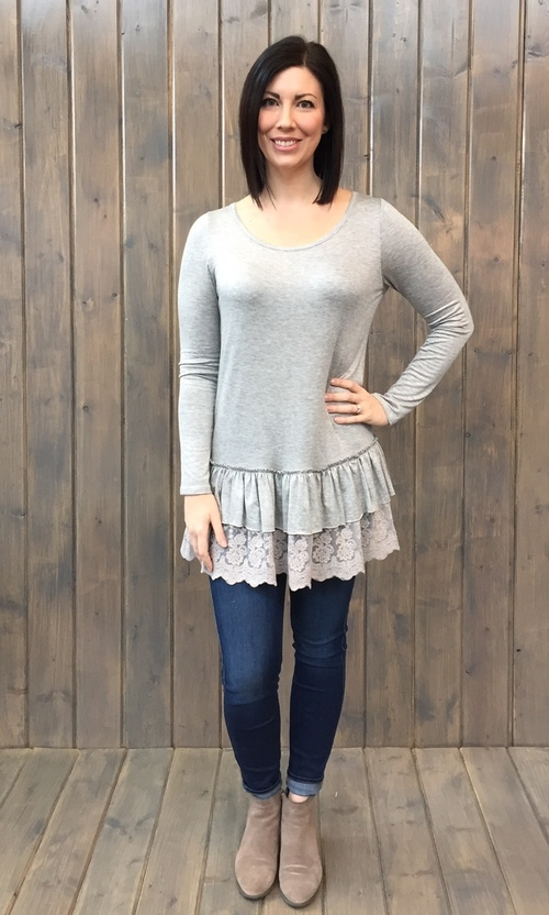 Double Ruffle Hem Grey Tee
