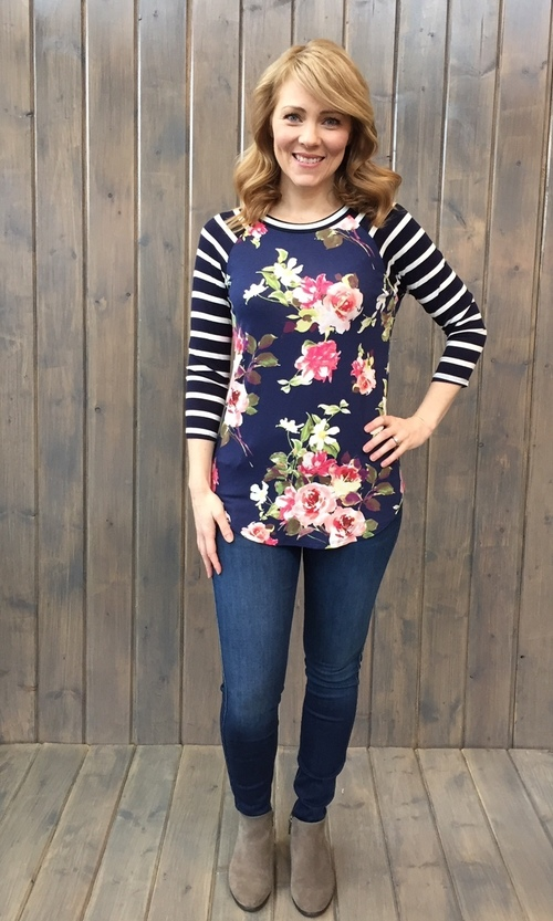 Floral Striped Sleeve Navy Top