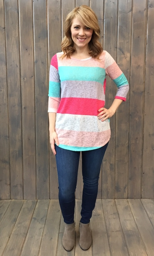 Mint & Fuchsia Color Block 3/4 Sleeve Top