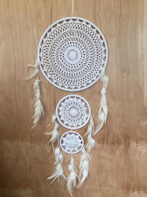 White Crochet Triple Dreamcatcher