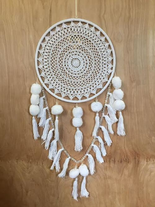 White Crochet Single Dreamcatcher