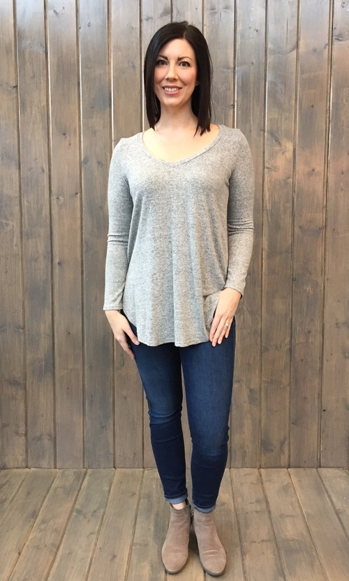 Brushed Jersey Hi Low Tunic Heather Grey